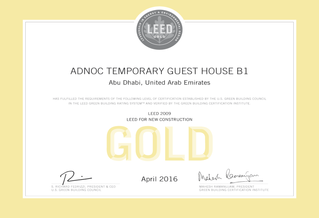 ADNOC Temporary Guest House B1 LEED Gold Certificate