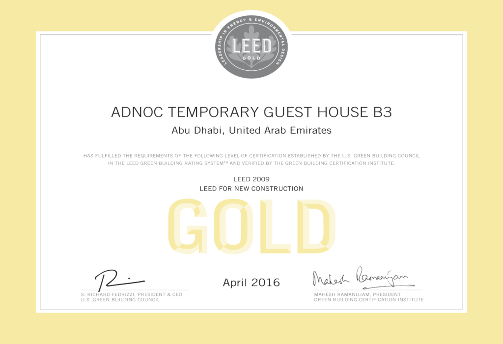ADNOC Temporary Guest House B3 LEED Gold Certificate