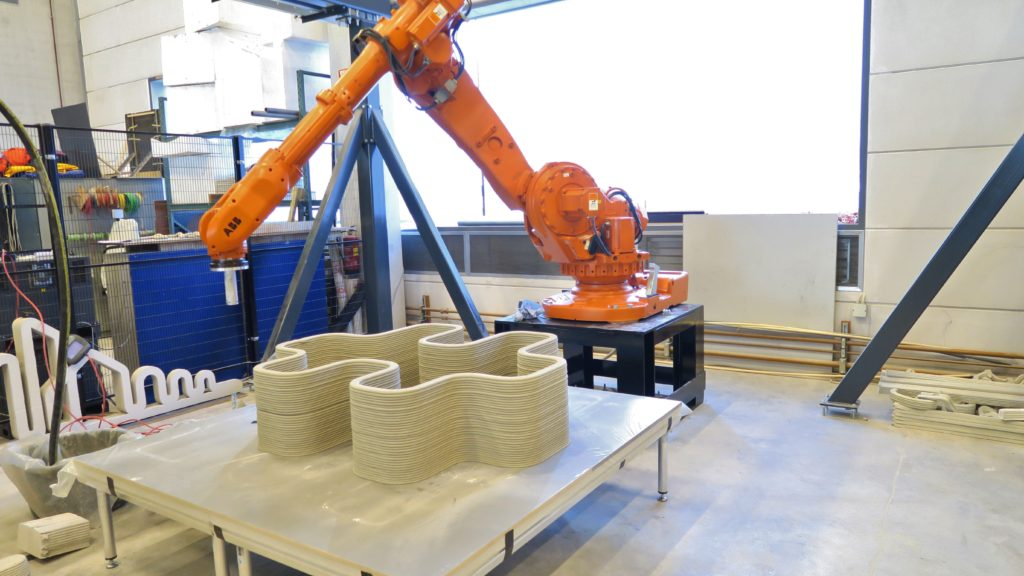 Robotic arm of the 3D concrete printer after completing a concrete design. DuBox will be showcasing the 3D concrete printer at the Global Manufacturing and Industrialisation Summit in Abu Dhabi at the end of March.